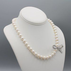 White freshwater pearl necklace bow silver